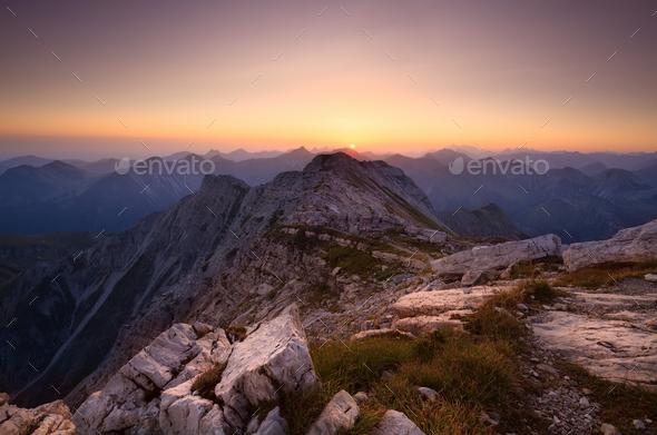 sunrise from Grosse Daumen peak - Stock Photo - Images