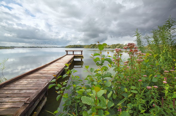 long wooden pier on big lake - Stock Photo - Images