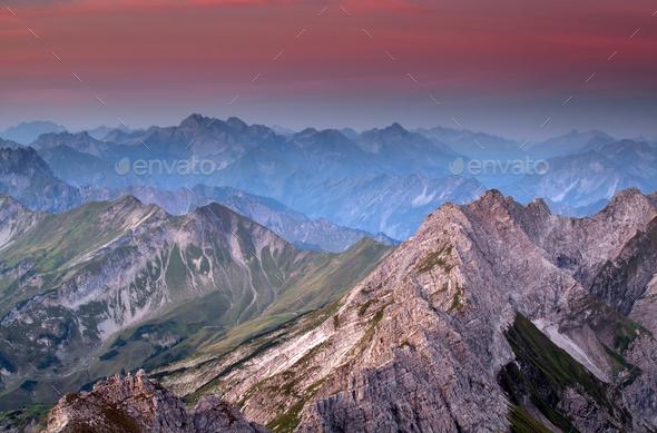 mountain ridge before sunrise - Stock Photo - Images