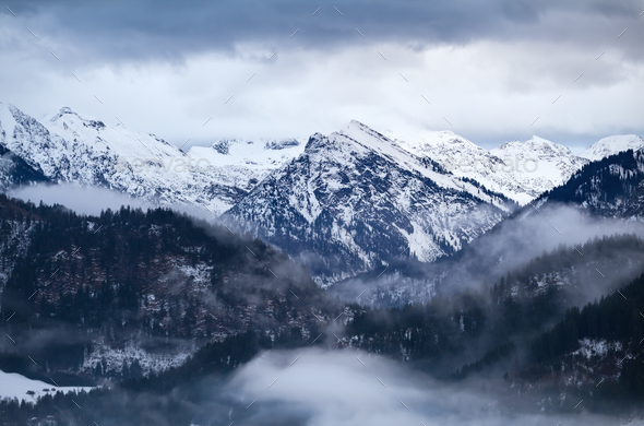 fog in winter Alps - Stock Photo - Images