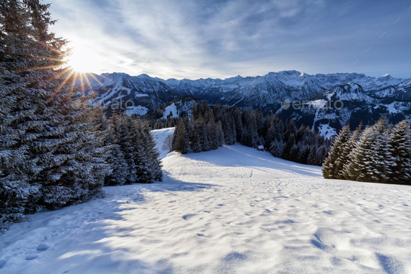 morning sunshine in snowy Alps - Stock Photo - Images
