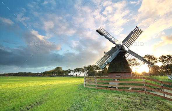 charming Dutch windmill  ats sunrise - Stock Photo - Images