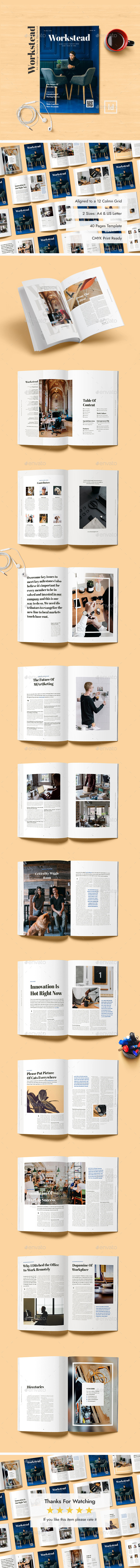 Workstead Magazine - 40 Pages Indesign Template - Magazines Print Templates