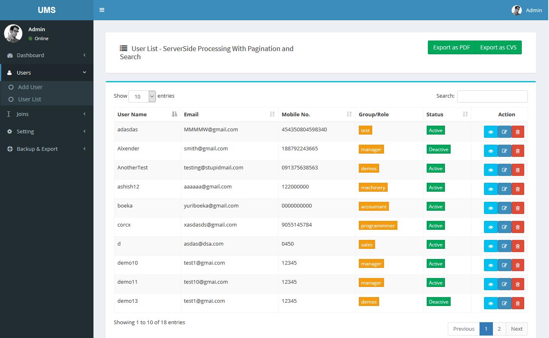 Codeigniter Datatables Server-side Processing + User CRUD
