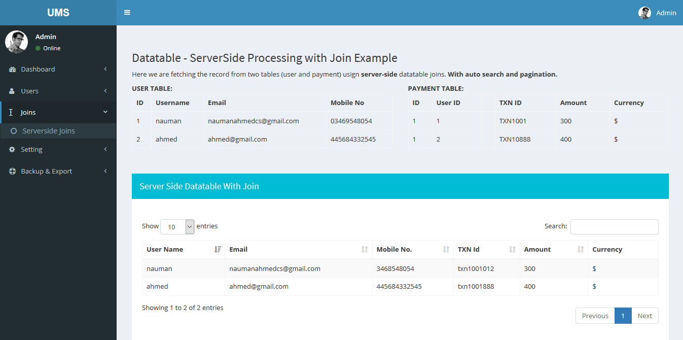 Codeigniter Datatables Server-side Processing + User CRUD