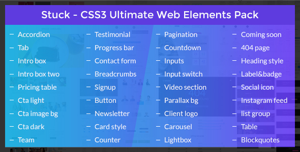 Stuck - CSS3 Ultimate Web Elements Pack Free Download | Nulled