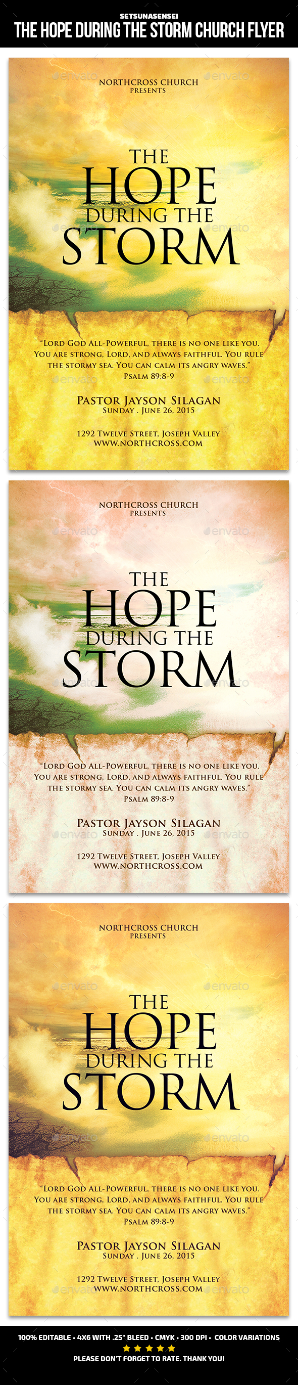 GraphicRiver The Hope During the Storm Church Flyer 21193460