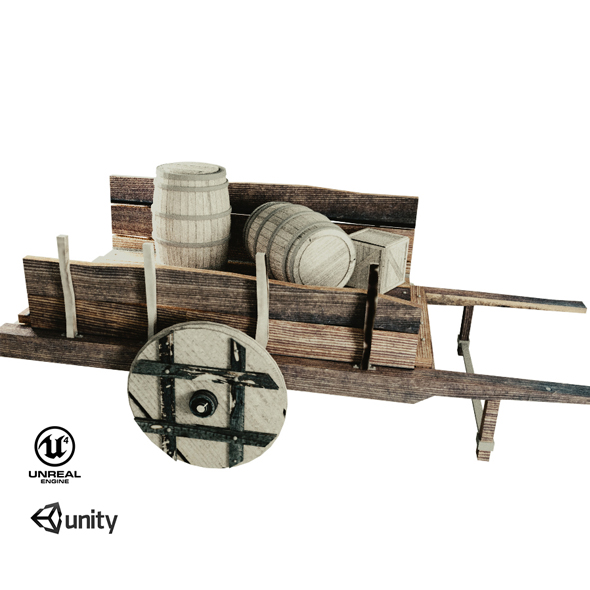 Wooden cart - 3DOcean Item for Sale