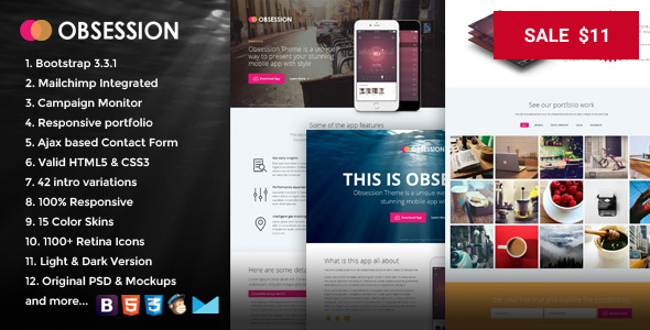 Obsession - Responsive Bootstrap App Landing Page Template