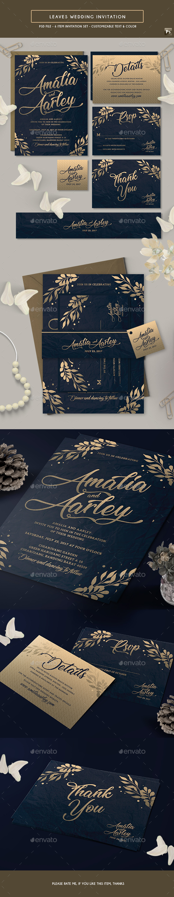 GraphicRiver Leaves Wedding Invitation 21193850