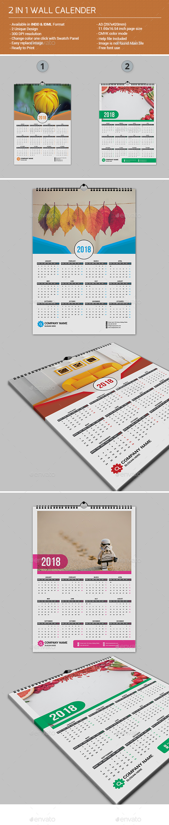 GraphicRiver 2 in 1 Wall Calender 21193865