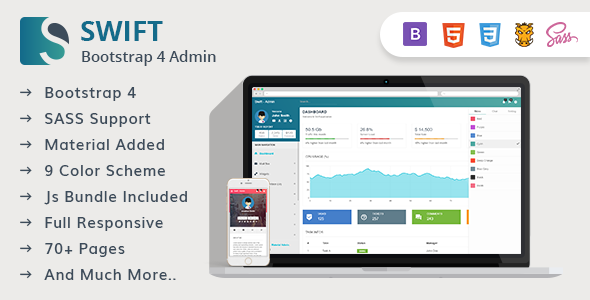 Image of Swift - Bootstrap 4 Material Design Admin