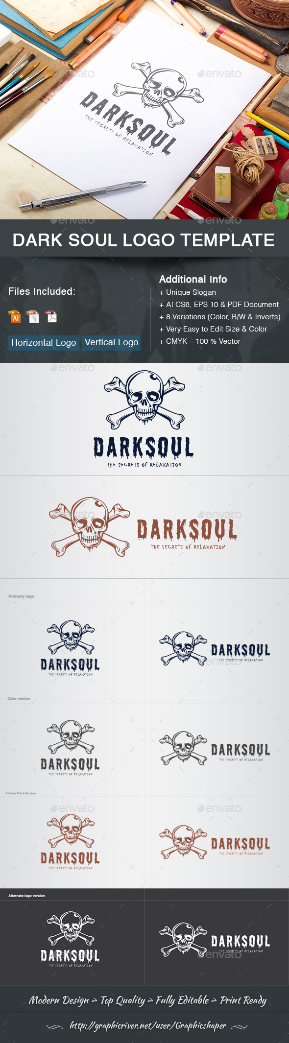 GraphicRiver Dark Soul Logo Template 21194012