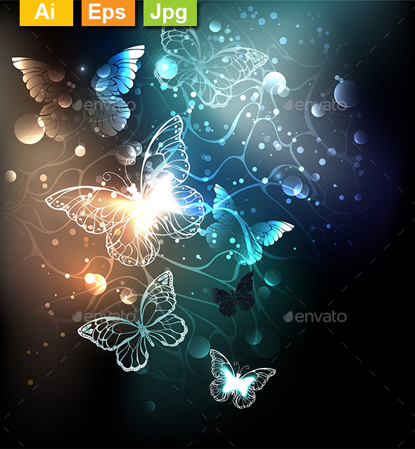 Bright Night Butterflies - Abstract Conceptual