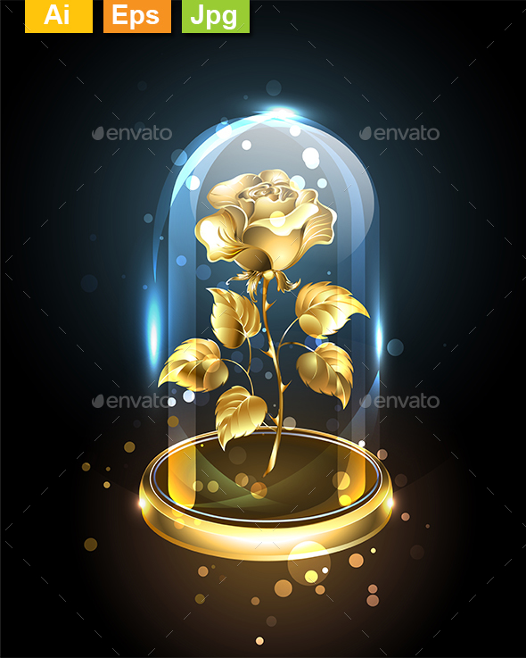 Gold Rose Under a Glass Dome - Man-made Objects Objects