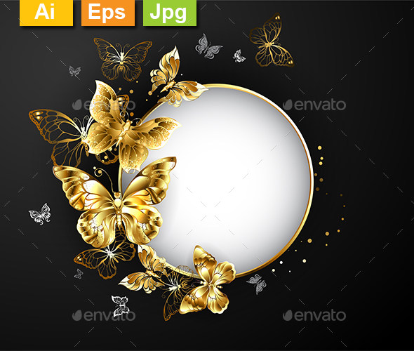 GraphicRiver Round Banner with Gold Butterflies 21194120