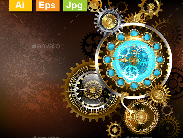 GraphicRiver Unusual Clock with Gears 21194125