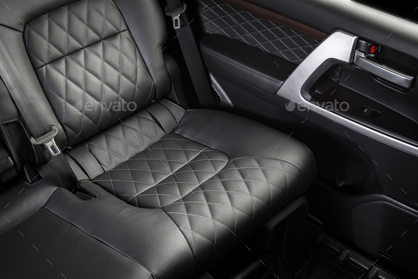 Back passenger seats in modern luxury car - Stock Photo - Images