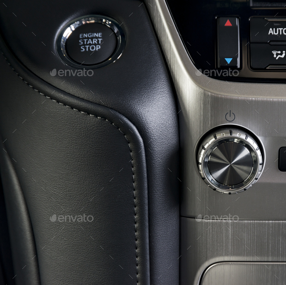 media control buttons, modern car interior details - Stock Photo - Images