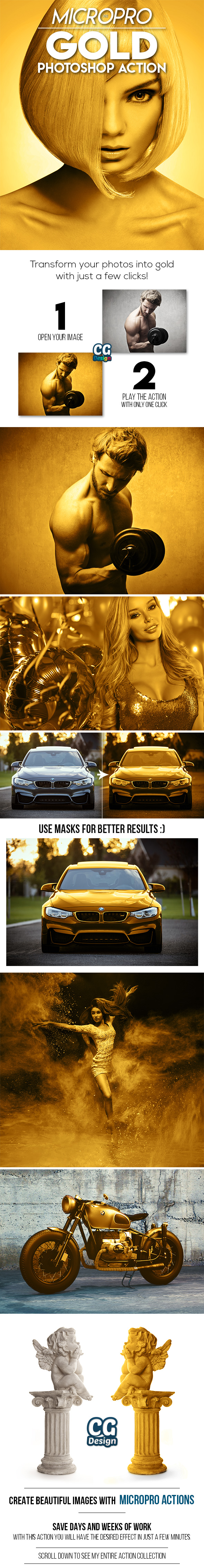 GraphicRiver MicroPro Gold Photoshop Action 21194259