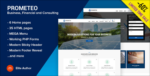 ThemeForest PROMETEO Business Financial and Consulting Site Template 21118166