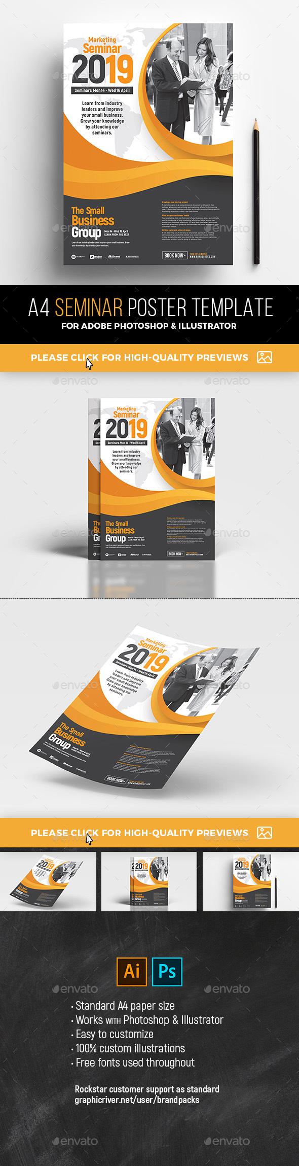 GraphicRiver A4 Seminar Poster Template v2 21194306