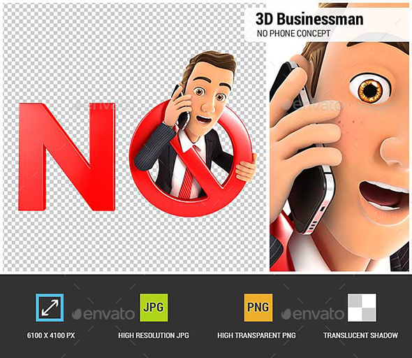 GraphicRiver 3D Businessman No Phone Concept 21194350