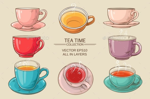 GraphicRiver Tea Cups Set Color 21194354