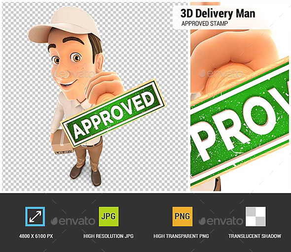 GraphicRiver 3D Delivery Man Approved Stamp 21194355