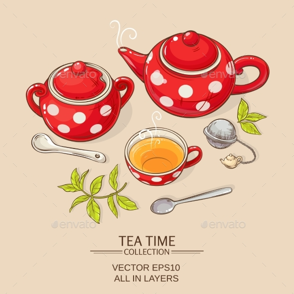 GraphicRiver Tea Set Red 21194356