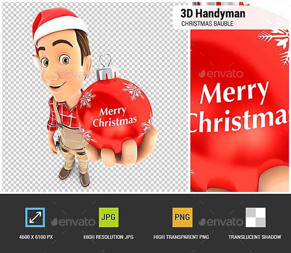 3D Handyman Christmas Bauble - Characters 3D Renders