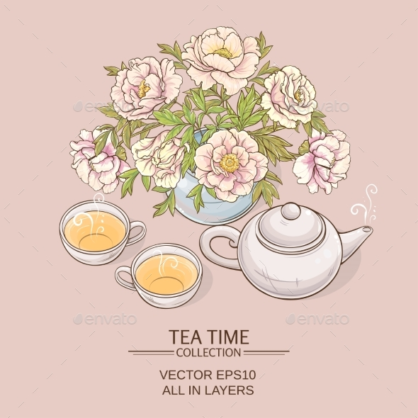 GraphicRiver Tea Pot with Tea Cup and Sugar Bowl 21194363