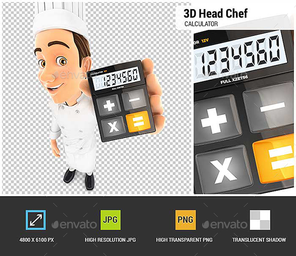 GraphicRiver 3D Head Chef Holding Calculator 21194366