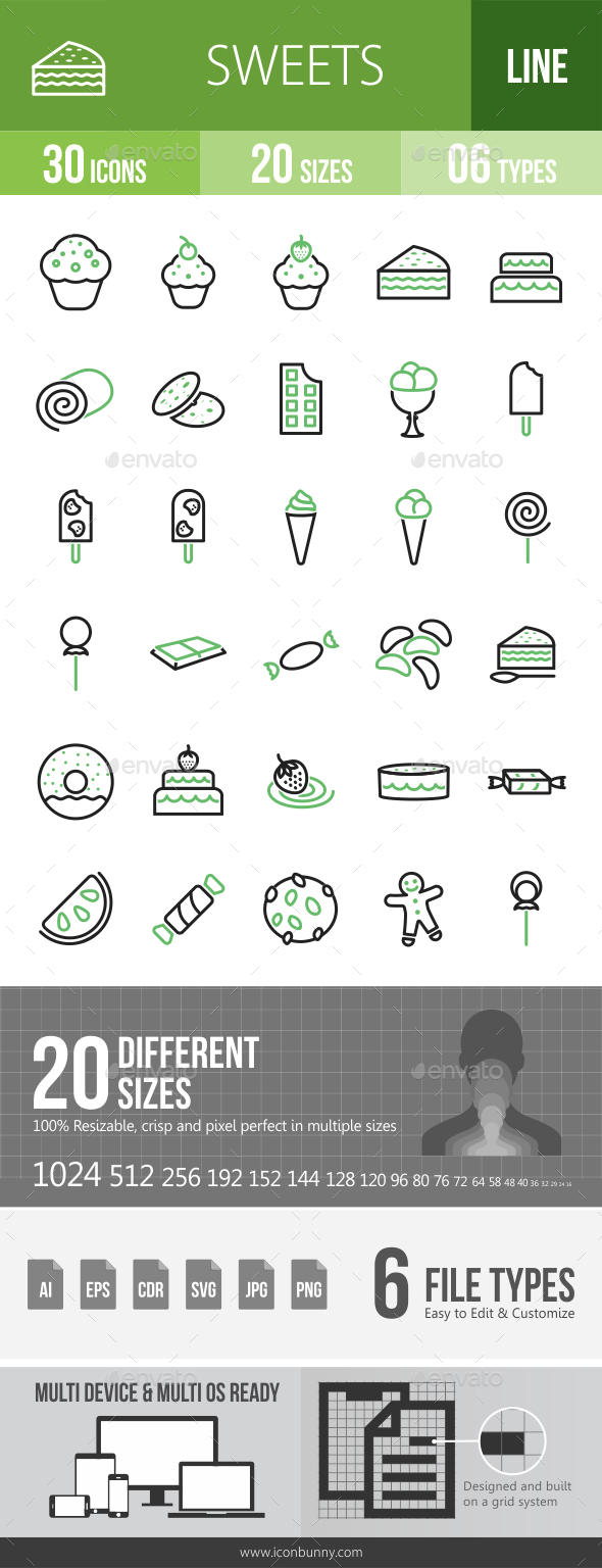 GraphicRiver 30 Sweets & Confectionery Green & Black Line Icons 21194370