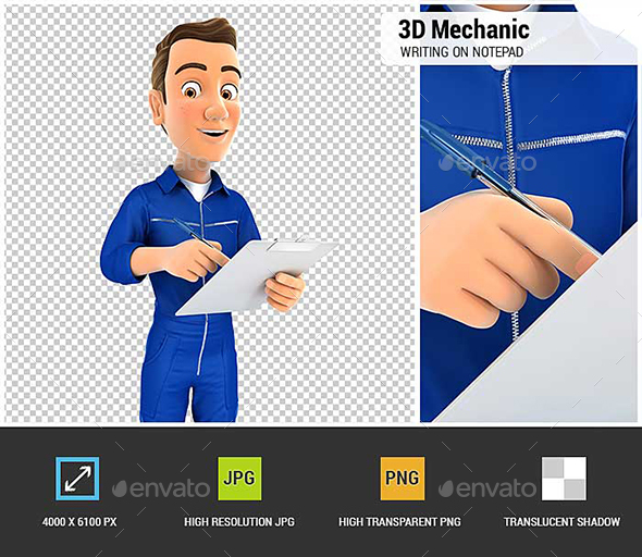 GraphicRiver 3D Mechanic Writing on Notepad 21194371