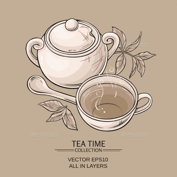 GraphicRiver Cup of Tea and Sugar Bowl 21194373