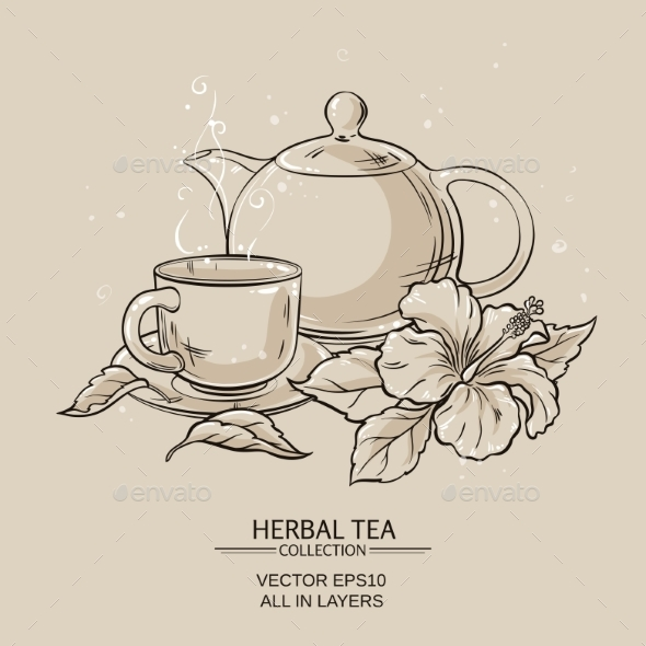 GraphicRiver Teapot with Cup and Hibiscus Flower 21194374