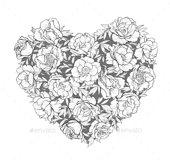 GraphicRiver Vector Heart of Peonies 21194378