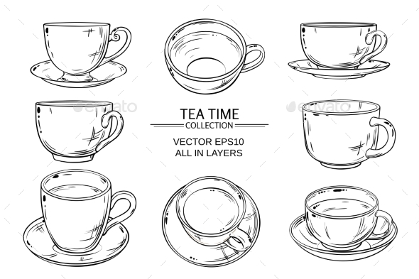 GraphicRiver Tea Cups Set 21194380