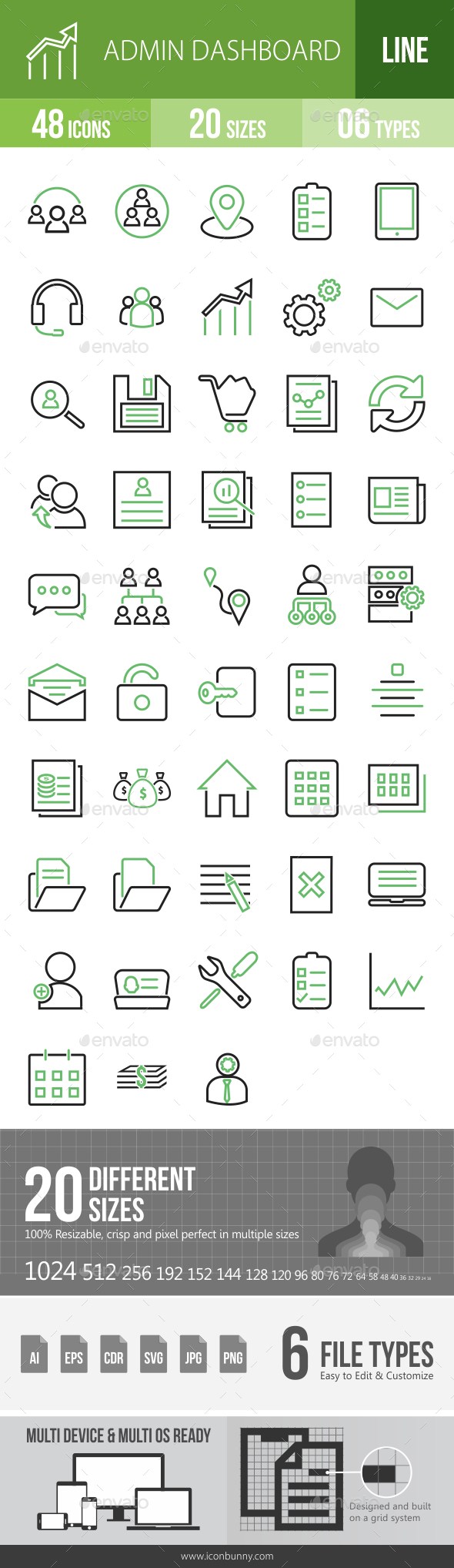48 Admin Dashboard Green & Black Line Icons - Icons