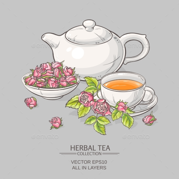 GraphicRiver Rose Tea on Grey Background 21194411