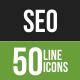 50 SEO Green & Black Line Icons