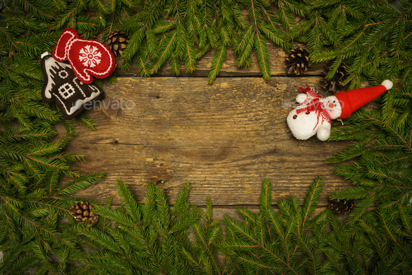 Christmas border with fir tree branches, cones and christmas dec - Stock Photo - Images