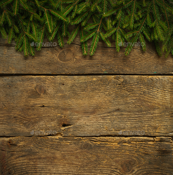 Christmas tree branches on wooden texture - Stock Photo - Images