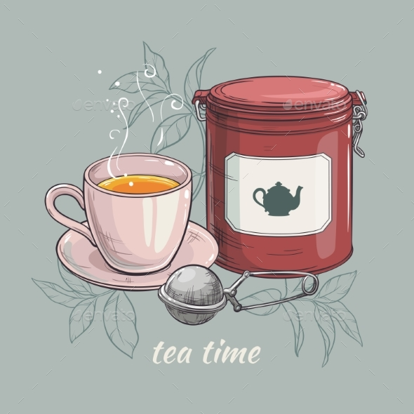 GraphicRiver Cup of Tea with Tin Packaging and Tea-Strainer 21194480