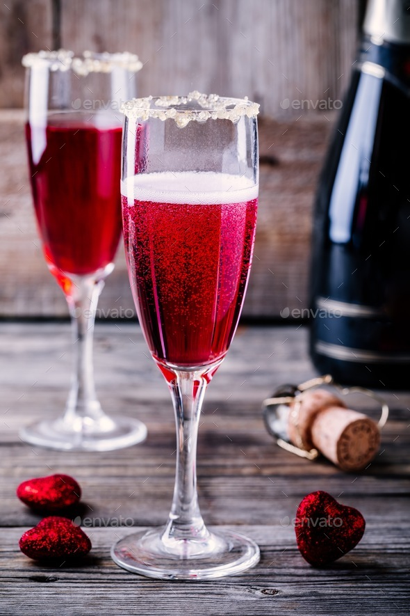 Refreshing cocktail with champagne and cranberry for Valentine's day - Stock Photo - Images