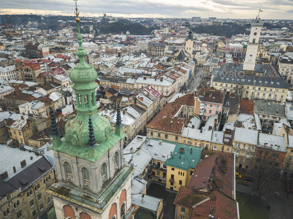 Aerial view of the historical center of Lviv. Shooting with dron - Stock Photo - Images