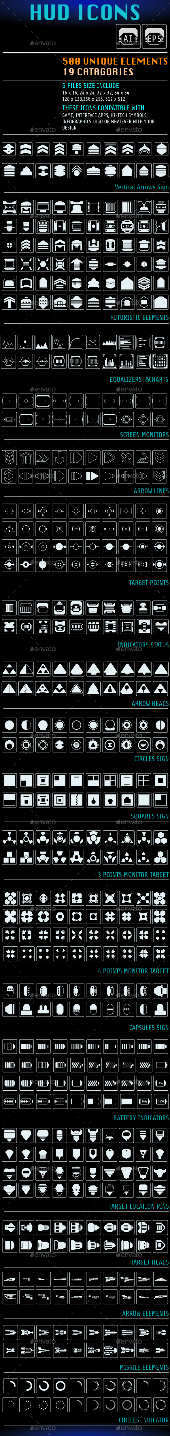 GraphicRiver HUD Futuristic 500 Icons For UI Apps Logo Design 21194842