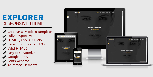 ThemeForest EXPLORER One Page Personal Portfolio Template 21078879