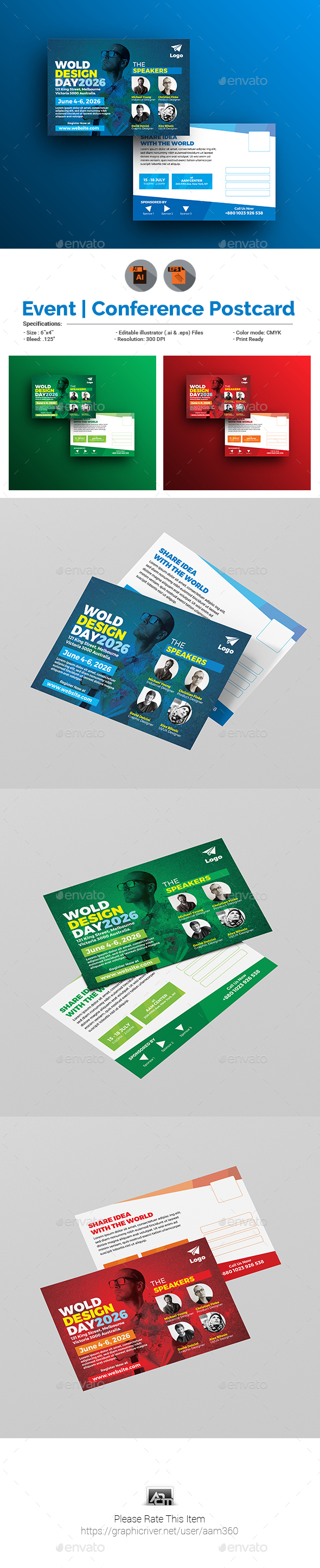 Conference Event Postcard Template By Aam GraphicRiver - Event postcard template